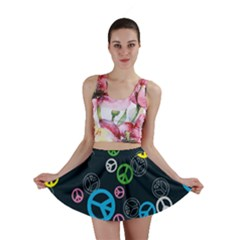Peace & Love Pattern Mini Skirt