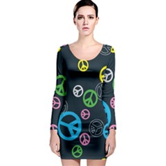 Peace & Love Pattern Long Sleeve Bodycon Dress