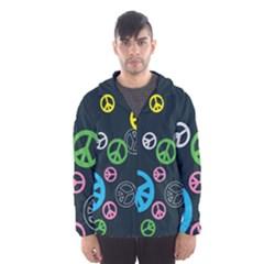 Peace & Love Pattern Hooded Wind Breaker (men)