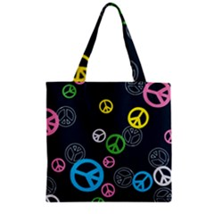 Peace & Love Pattern Zipper Grocery Tote Bag