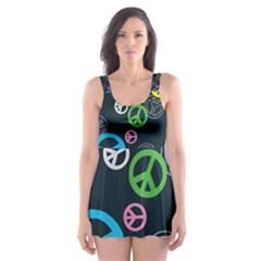 Peace & Love Pattern Skater Dress Swimsuit