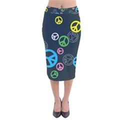 Peace & Love Pattern Velvet Midi Pencil Skirt
