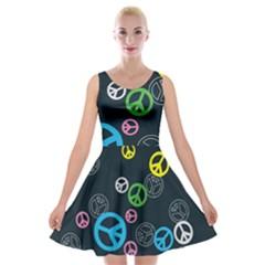 Peace & Love Pattern Velvet Skater Dress