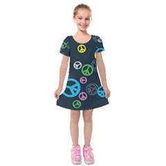 Peace & Love Pattern Kids  Short Sleeve Velvet Dress