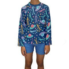 Alien Pattern Blue Kids  Long Sleeve Swimwear