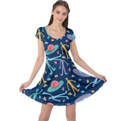 Alien Pattern Blue Cap Sleeve Dresses