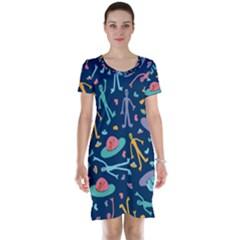 Alien Pattern Blue Short Sleeve Nightdress