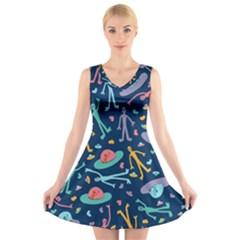 Alien Pattern Blue V-Neck Sleeveless Skater Dress