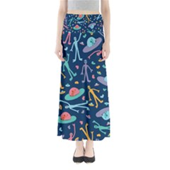 Alien Pattern Blue Full Length Maxi Skirt