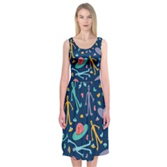 Alien Pattern Blue Midi Sleeveless Dress