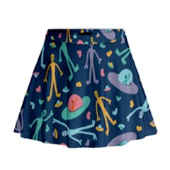 Alien Pattern Blue Mini Flare Skirt