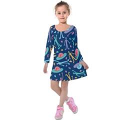 Alien Pattern Blue Kids  Long Sleeve Velvet Dress