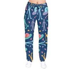 Alien Pattern Blue Drawstring Pants