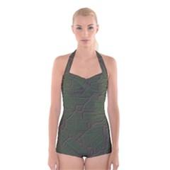 Alien Wires Texture Boyleg Halter Swimsuit