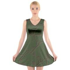 Alien Wires Texture V Neck Sleeveless Skater Dress