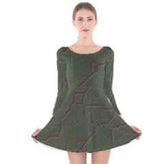 Alien Wires Texture Long Sleeve Velvet Skater Dress