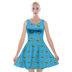 Alien Pattern Velvet Skater Dress