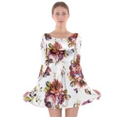 Texture Pattern Fabric Design Long Sleeve Skater Dress