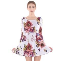 Texture Pattern Fabric Design Long Sleeve Velvet Skater Dress