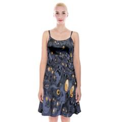 Monster Cover Pattern Spaghetti Strap Velvet Dress
