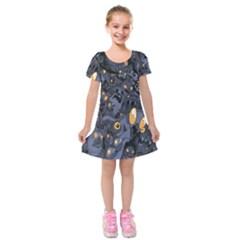 Monster Cover Pattern Kids  Short Sleeve Velvet Dress