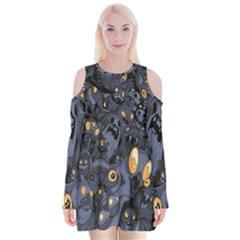 Monster Cover Pattern Velvet Long Sleeve Shoulder Cutout Dress