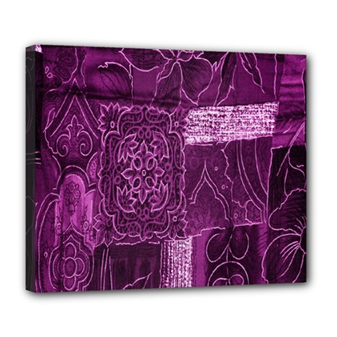 Purple Background Patchwork Flowers Deluxe Canvas 24  x 20