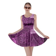 Purple Background Patchwork Flowers Skater Dress