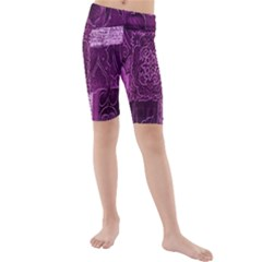 Purple Background Patchwork Flowers Kids  Mid Length Swim Shorts