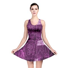 Purple Background Patchwork Flowers Reversible Skater Dress