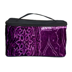 Purple Background Patchwork Flowers Cosmetic Storage Case