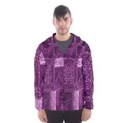 Purple Background Patchwork Flowers Hooded Wind Breaker (Men)