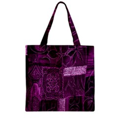 Purple Background Patchwork Flowers Zipper Grocery Tote Bag