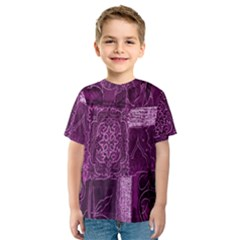 Purple Background Patchwork Flowers Kids  Sport Mesh Tee