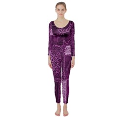 Purple Background Patchwork Flowers Long Sleeve Catsuit