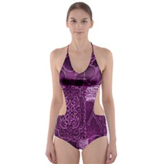 Purple Background Patchwork Flowers Cut-Out One Piece Swimsuit