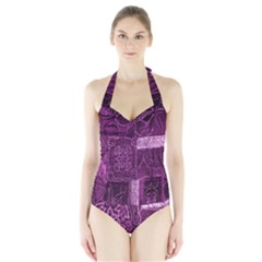 Purple Background Patchwork Flowers Halter Swimsuit