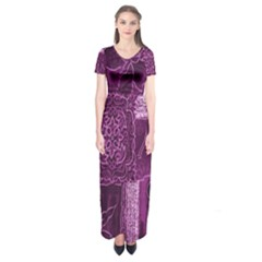 Purple Background Patchwork Flowers Short Sleeve Maxi Dress