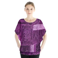 Purple Background Patchwork Flowers Blouse