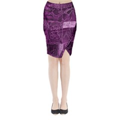 Purple Background Patchwork Flowers Midi Wrap Pencil Skirt