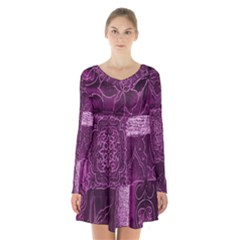 Purple Background Patchwork Flowers Long Sleeve Velvet V Neck Dress