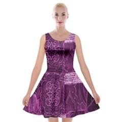Purple Background Patchwork Flowers Velvet Skater Dress