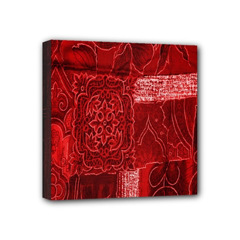 Red Background Patchwork Flowers Mini Canvas 4  X 4