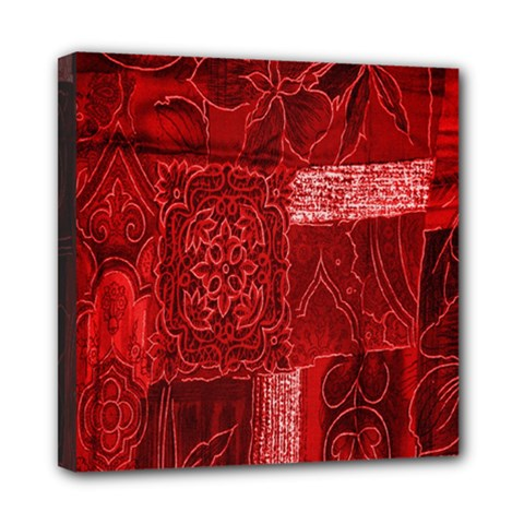 Red Background Patchwork Flowers Mini Canvas 8  x 8
