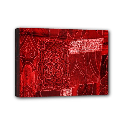 Red Background Patchwork Flowers Mini Canvas 7  X 5