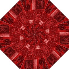 Red Background Patchwork Flowers Folding Umbrellas