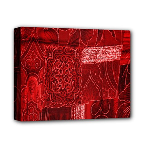 Red Background Patchwork Flowers Deluxe Canvas 14  X 11