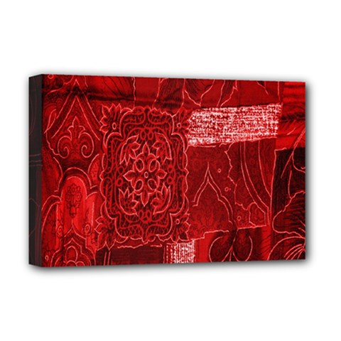 Red Background Patchwork Flowers Deluxe Canvas 18  X 12