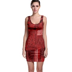 Red Background Patchwork Flowers Sleeveless Bodycon Dress
