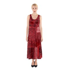Red Background Patchwork Flowers Sleeveless Maxi Dress